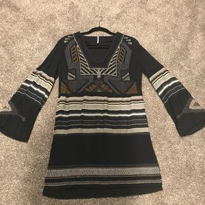 FP Small Navy Embroidered Bell Sleeve Mini Dress